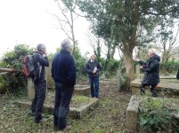 Michael Tangye, local historian telling us the stories of those buried here