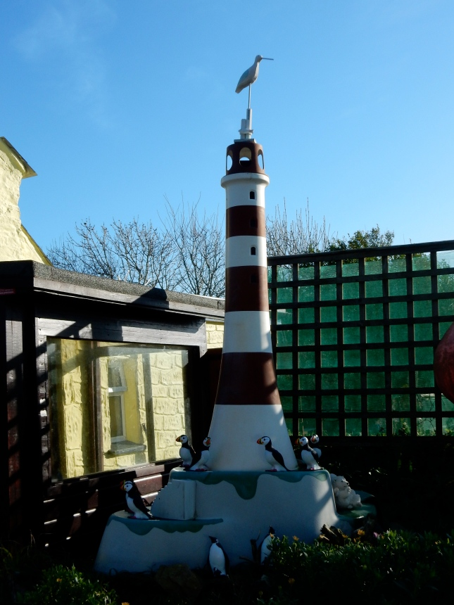 Lighthouse and puffins
