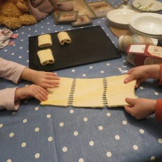 Getting a piece of dough each