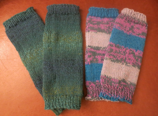 Two pairs of leg warmies for Grand-baby B