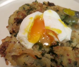 Bubble and Squeak with a fresh poached egg
