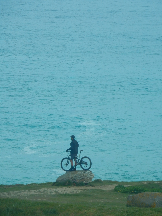 Biker on the Headland, Newquay