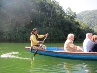 Elegant motion through the water of the lake at Pokhara