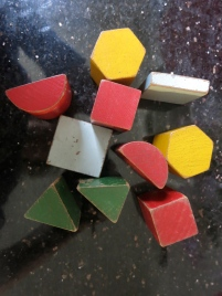 Shapes for posting, made by my Grandfather to go in the shapes box, also made by him