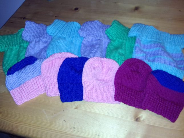 Baby hats and sweaters from Hils' Mum