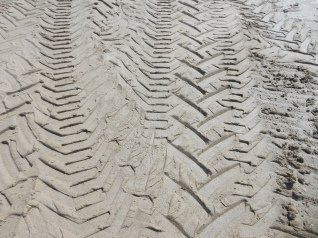 Tyre tracks. Tomorrow sees the start of the Tunes in the Dunes Festival and there has been a lots of traffic on the sand.