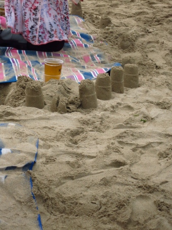 Sandcastles made with beer glasses