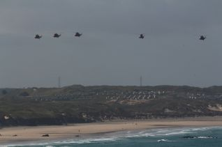 SAR Sea Kings on their valedictory flypast, David Wheeler's photo. Thank you.