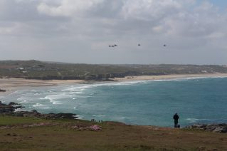 SAR Sea Kings on their valedictory flypast - Photo by David Wheeler. Thank you!