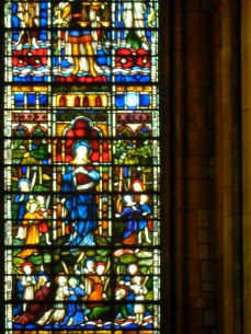 The damaged pane of glass from inside the Cathedral