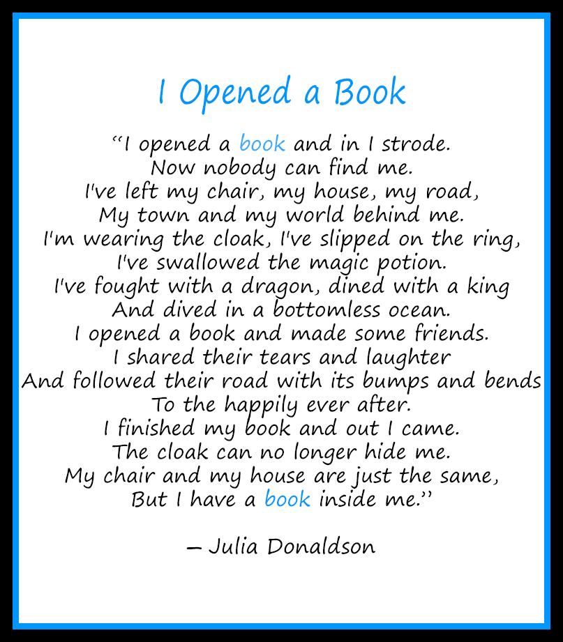 I opened a book - Julia Donaldson