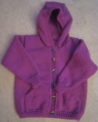 Violet Hoodie with rainbow buttons