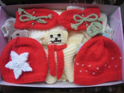Hat, mitts and a teddy for our first grand-baby