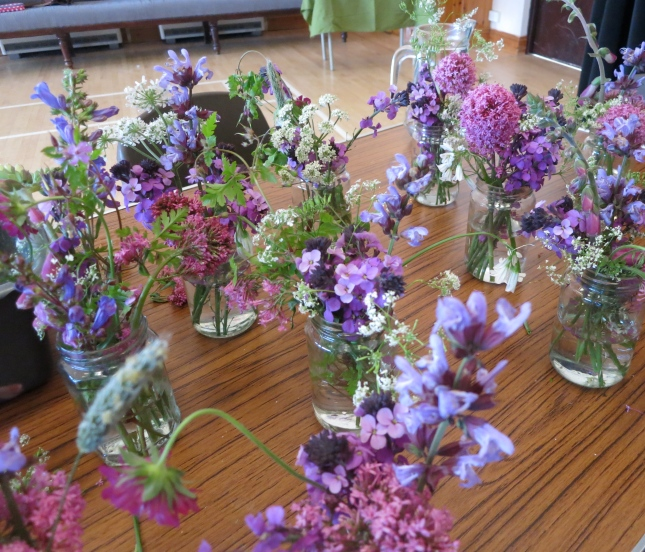 Beautiful hedgerow flowers for the tables