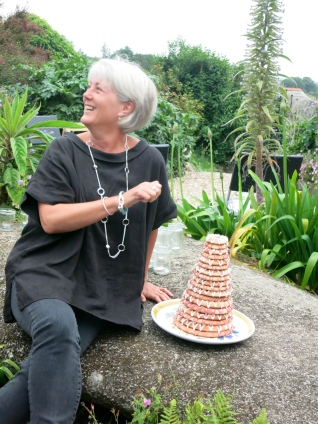 Nicky lighting her candles on the Kransekake - Happy Birthday!
