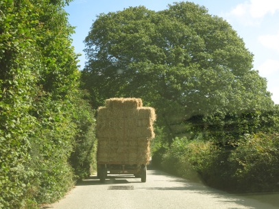 Following a hay laden tractor