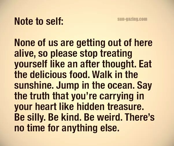 Note to self from Sallie G