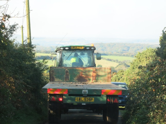 Tractor filling the lane