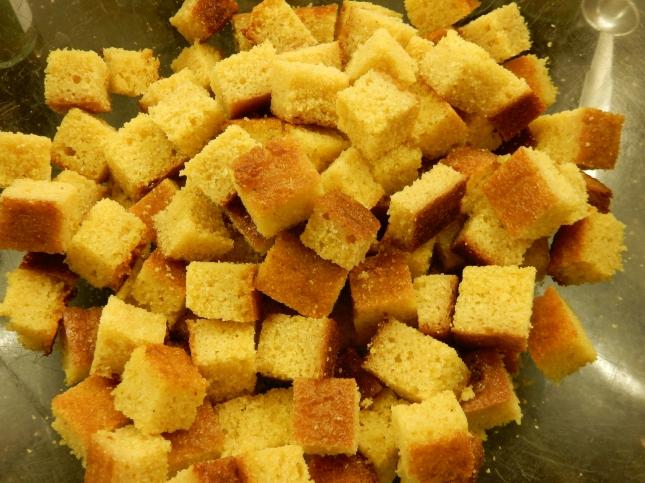 Corn bread cubes