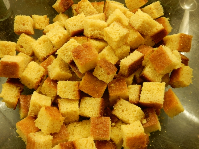 Corn bread cubes
