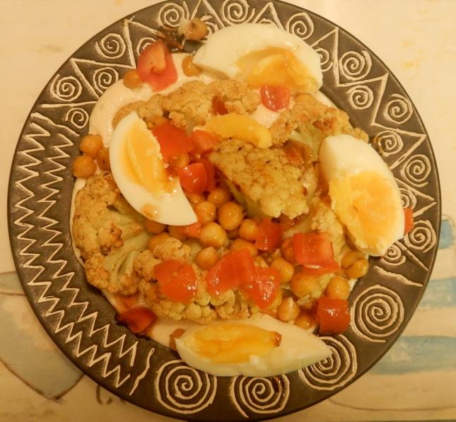 Roasted Cauliflower and Chickpeas with Warm Tahini Sauce