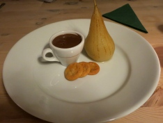 Chocolate Pot with Poached Pear and Ginger Snaps