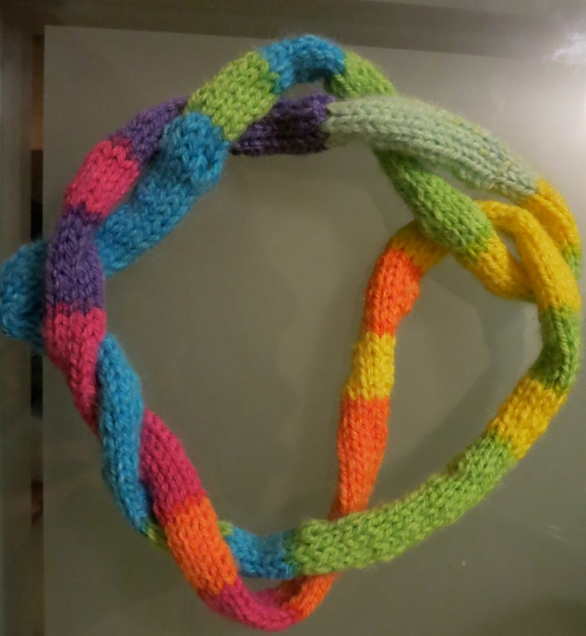 Twisted French knitting necklace.