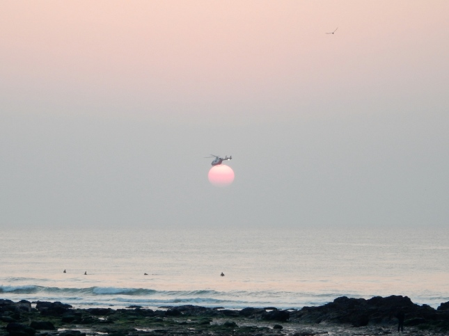 Helicopter sitting on the sun