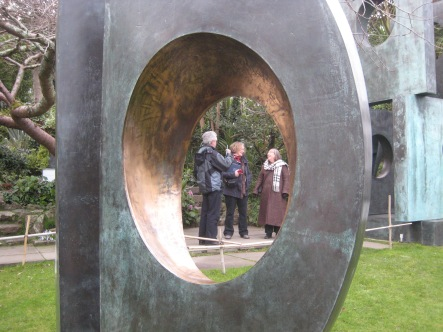 Friends together in the Barbara Hepworth garden, St Ives