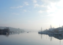 Mist on the river before singing