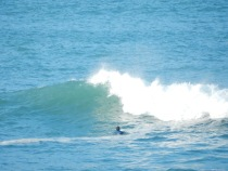 Surfer waiting for a good wave