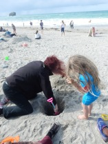 Auntie M digging a hole