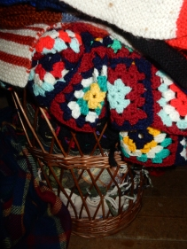 Basket of handmade blankets in the Quaker Meeting House