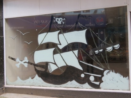 Painted on a window in Penzance