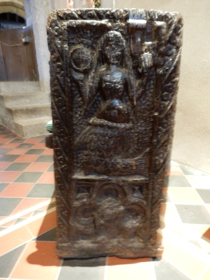 The carved bench end with the Mermaid, thought to be at least 600 years old!