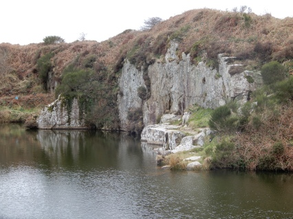 The quarry, closer view of the cliffs