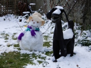 Welly Dog and Suffragette Snow Woman