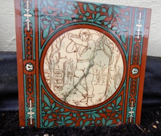 Antique Minton tile-tree chopping