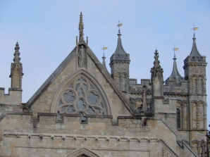 Golden pennants on Exeter Cathedral