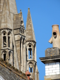 Turrets and a chimney