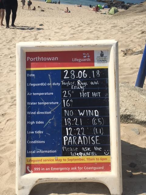 Sign on Porthtowan Beach