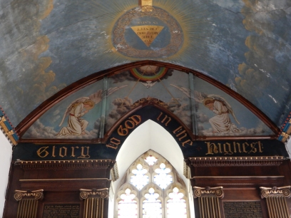 The beautifully painted ceiling dating from 18th Century