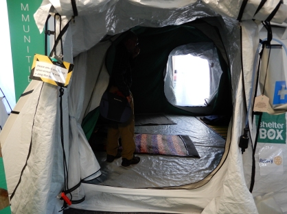 A cold weather tent where the doors are deliberately offset