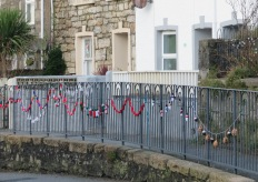 Knitted decorations in St Day