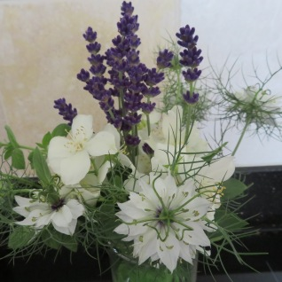 Lavender with Love-in-a-mist and Philadelphus