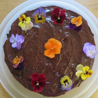 Decorated with Violas from the edible trough garden